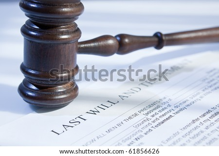 last will and gavel for finance and legal concept - stock photo