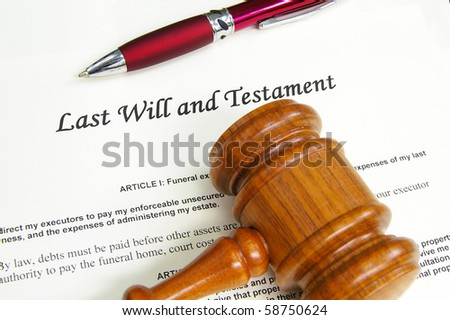 Last Will and Testament document with gavel and pen - stock photo