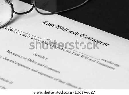Last Will and Testament form with limited depth of field - stock photo