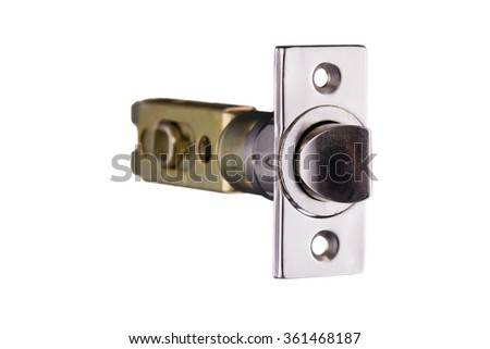 Latch mechanism details isolated on white background - stock photo