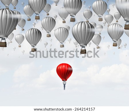 Late career as a businessman in a red hot air balloon trailing and falling behind a group of competitors as a business concept for catching up and job aspirations to join an organization. - stock photo