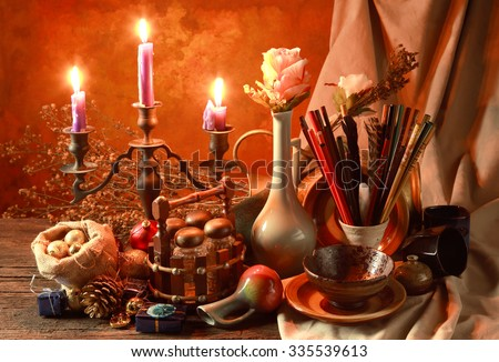 late Christmas night on table at room corner in Japan a still life art photography concept - stock photo