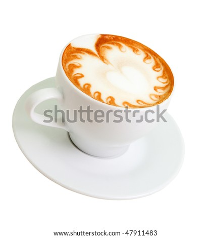 late coffee with chocolate .latte coffee with white chocolate - stock photo