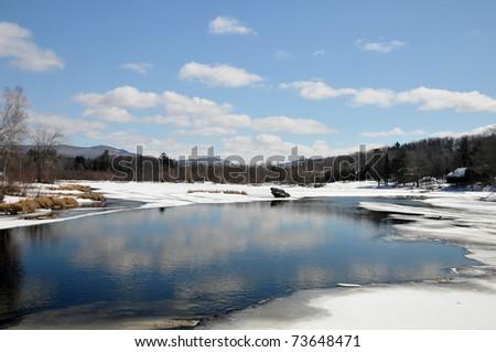 Late winter landscape - stock photo