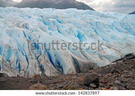 Lateral Edge of Perito Moreno Glacier, Argentina - stock photo