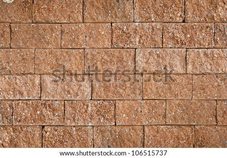 Laterite stone brick wall. - stock photo