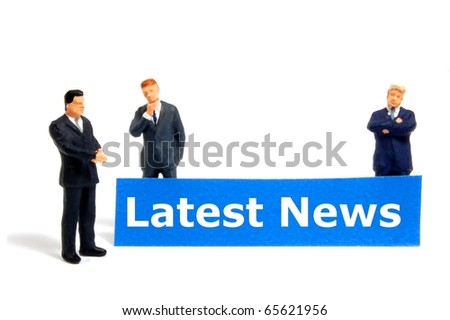 latest news concept with small business man isolated on white background - stock photo
