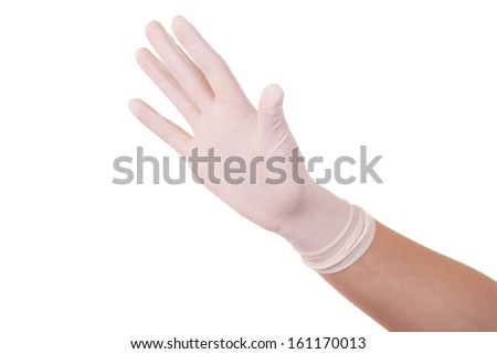 latex glove on isolate white background - stock photo