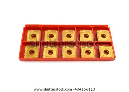 Lathe tool and cutting inserts for turning white background - stock photo