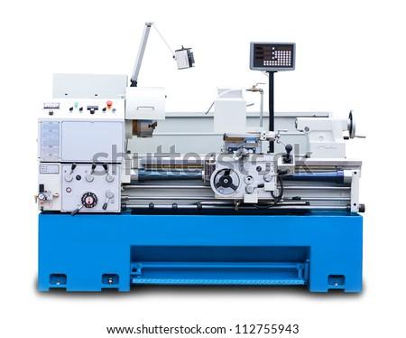 Lathe turning machine isolated on white background - stock photo