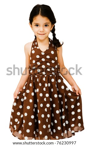 Latin American girl showing her dress isolated over white - stock photo