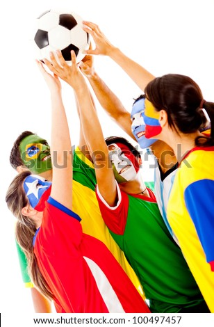 Latin American group of football fans - isolated over a white background - stock photo