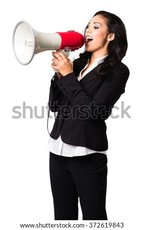 Latin Businesswoman with bullhorn on white background - stock photo