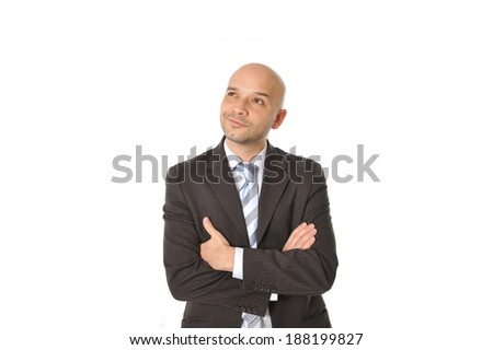 latin Happy Young Business Man with bald head Thinking , Doubting and Considering a Decision Isolated in White Background with copy space for adding text message , logo or advertising - stock photo