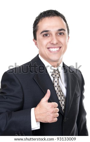 latino business man going thumb up, isolated on white - stock photo