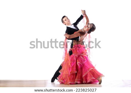 Latino dancers in ballroom isolated on white background - stock photo
