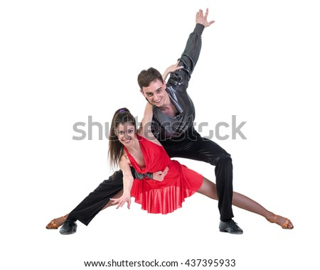 Latino dancers posing, isolated on white - stock photo
