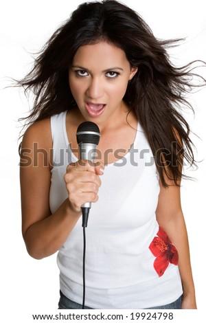 Latino Woman Singing - stock photo