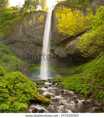 Latourell Waterfalls Oregon Misty Rainbow - stock photo