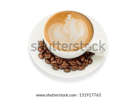 Latte art and coffee beans, isolate on white - stock photo