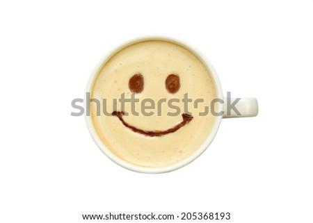 latte art - isolated cup of coffee with a smile - stock photo