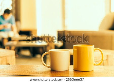 Latte Coffee cup in coffee shop - Vintage Retro effect style pictures - stock photo