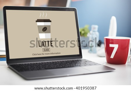 Latte Coffee Milk Foam Froth Caffeine Beverage Concept - stock photo
