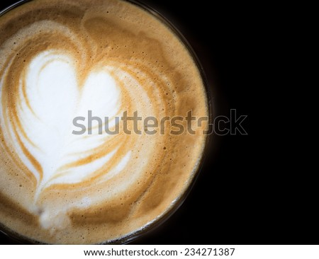 latte coffee with heart shape - stock photo