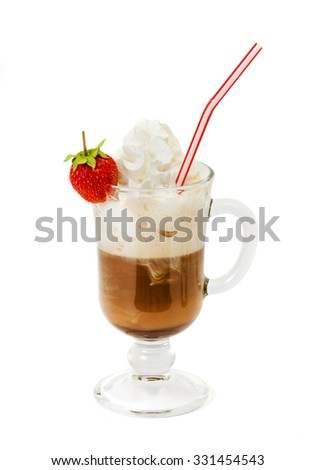 latte coffee with whipped cream and strawberry in glass isolated on white background - stock photo