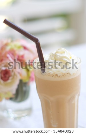 latte frappe,selective focus - stock photo