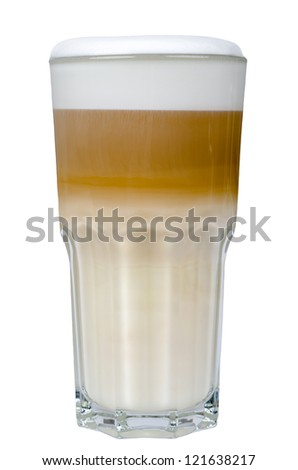 latte macchiato in a glass isolated before white background - stock photo