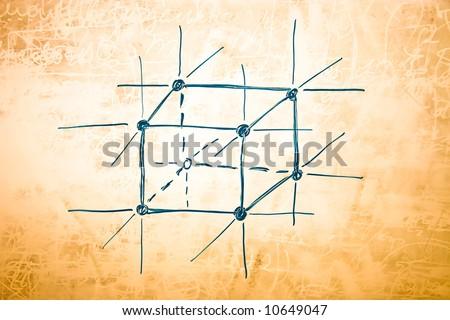Lattice of metal in atomic physics. Sketch on blackboard. - stock photo