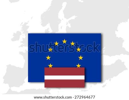 Latvia and European Union Flag with Europe map background - stock photo