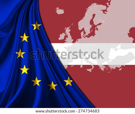 Latvia and European Union Flag with Europe map background - stock photo