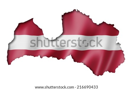 Latvia flag map, three dimensional render, isolated on white - stock photo