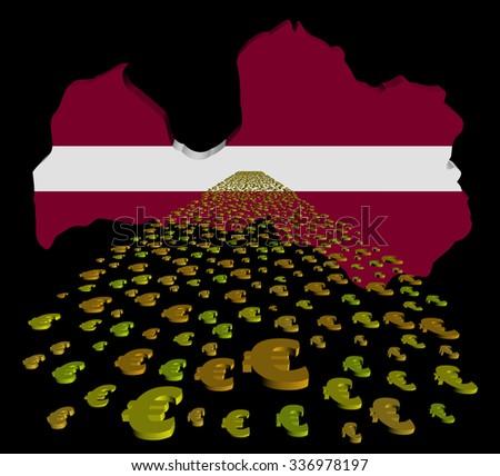 Latvia map flag with euros foreground illustration - stock photo