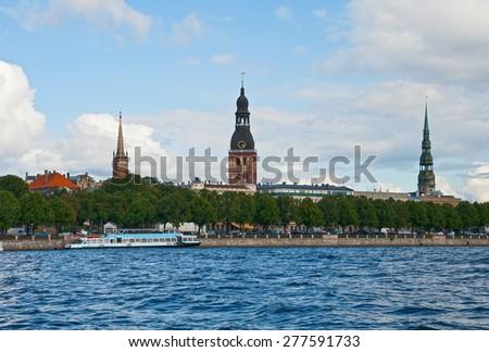 Latvia, Riga, View of old town - stock photo