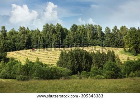 Latvian summer landscape with meadows and forests - stock photo