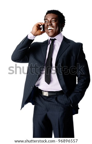laugh phone conversation black businessman - stock photo