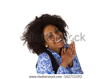Laughing afro american woman isolated on white background - stock photo