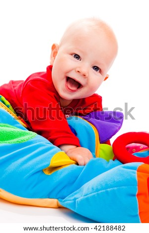 Laughing baby, on a white background - stock photo