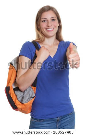 Laughing blonde student with backpack showing thumb up - stock photo