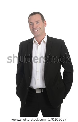 laughing businessman in front of white background - stock photo