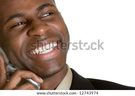 Laughing Businessman on Phone - stock photo