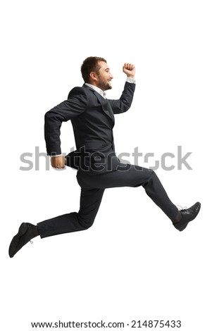 laughing businessman running over white background - stock photo