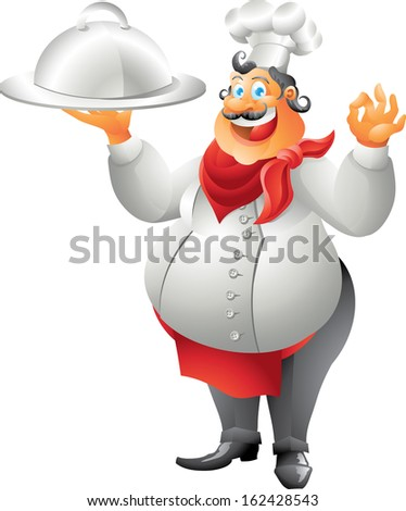laughing chef with plate isolated - stock photo