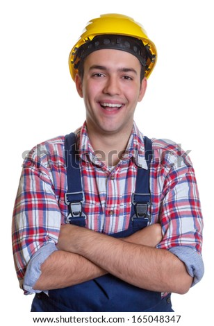 Laughing construction worker with crossed arms - stock photo