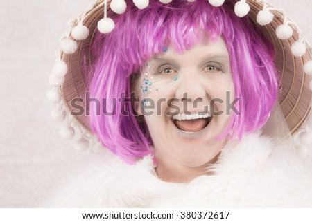 Laughing female circus style character on white background - stock photo