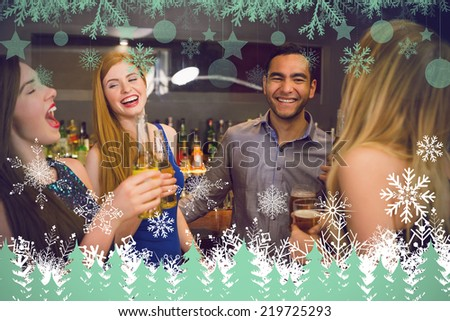 Laughing friends drinking beers against snowflakes and fir trees in green - stock photo