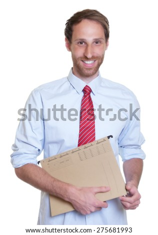 Laughing german businessman with file - stock photo